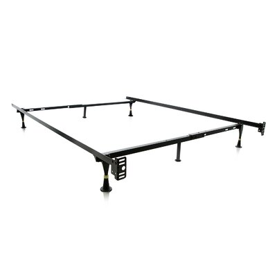 Malouf Heavy Duty 6 Leg Adjustable Metal Bed Frame with Glide