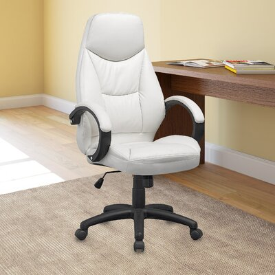 Wade Logan Benton High-Back Leather Executive Office Chair with Arms