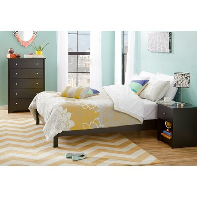 South Shore Step One Platform Bed in Pure Black