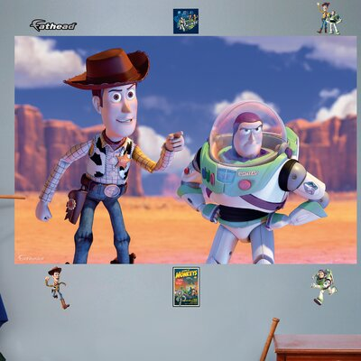 Fathead disney woody and buzz wall mural wayfair for Buzz lightyear wall mural