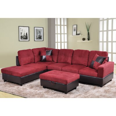 Andover Mills Russ Left Chaise Sectional with Storage Ottoman