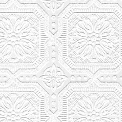 Paintable 33 x 205 Damask 3D Embossed Wallpaper Roll Reviews