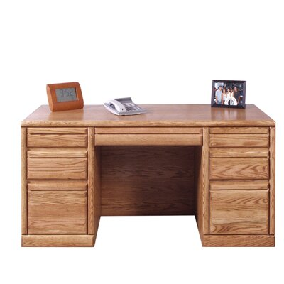 Forest Designs Executive Desk with 3 Right & 3 Left Drawers