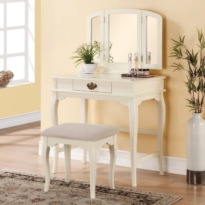 Three Posts Brownridge 1 Drawer Vanity Set with ..