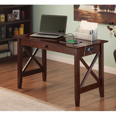 Three Posts Lewisboro Writing Desk with Drawer and Charging Station