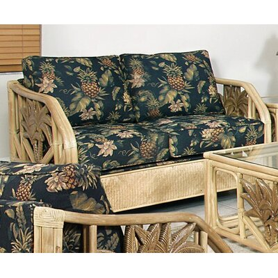 Bay Isle Home Cypress Upholstered Rattan Loveseat in Natural Finish