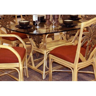 Bay Isle Home Cypress Indoor Rattan Rectangular Dining Table in Natural Finish