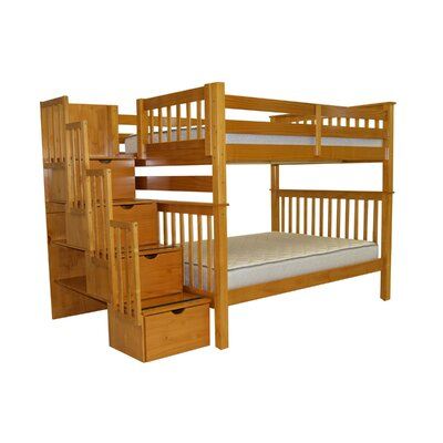 Bedz King Stairway Full over Full Bunk Bed with..