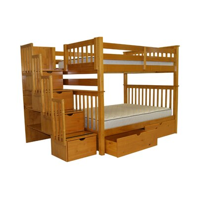 Bedz King Full over Full Bunk Bed with Storage