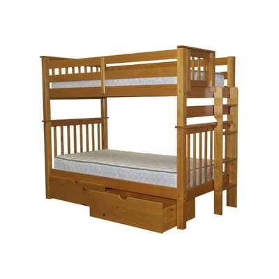 Bedz King Mission Twin Bunk Bed with Storage