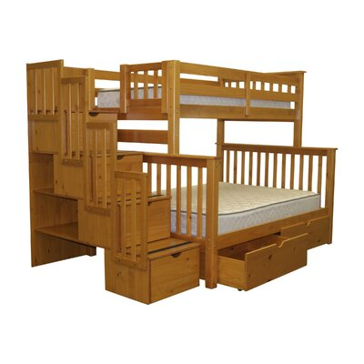 Bedz King Twin over Full Bunk Bed with Storage