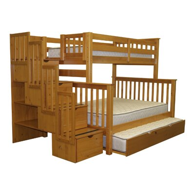 Bedz King Twin over Full Bunk Bed with Tr..