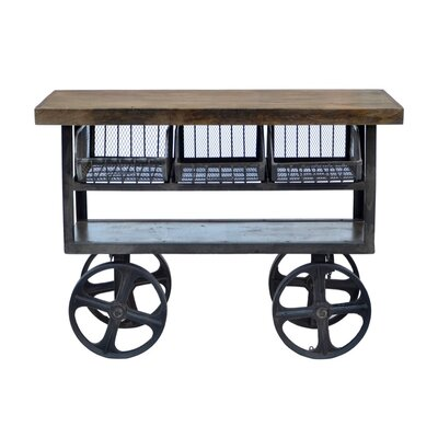 CDI International Industrial Kitchen Island with Mango Top