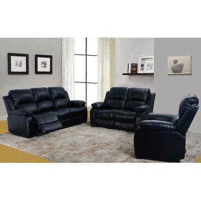 Beverly Fine Furniture Denver 3 Piece Bonded Leather Reclining Living Room Sofa Set