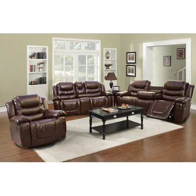 Beverly Fine Furniture Ottawa 3 Piece Bonded Leather Reclining Living Room Sofa Set
