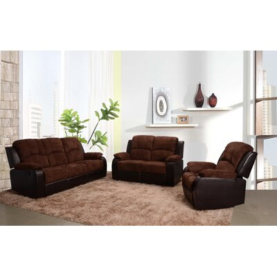 Beverly Fine Furniture Pamela 3 Piece Microfiber Reclining Living Room Sofa Set