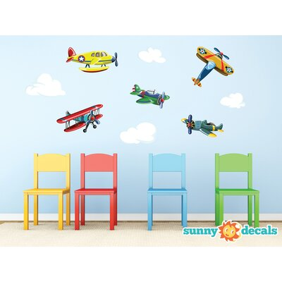 Sunny Decals Vintage Airplane Fabric Wall Decal Wayfair