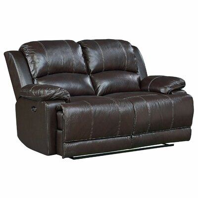 Red Barrel Studio Garlock Leather Power Motion Reclining Loveseat