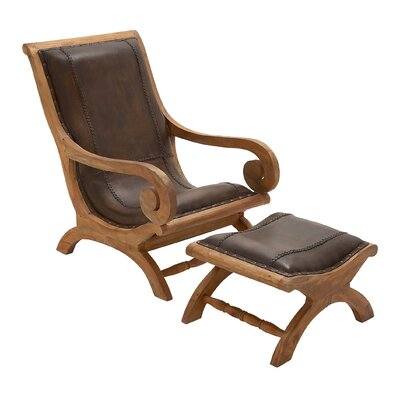 Cole & Grey Wood Lounge Chair and Otto..