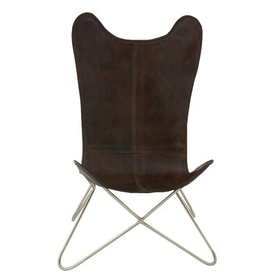 Cole & Grey Metal Real Leather Side Chair (Set of 2)