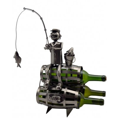 Three Star Im/Ex Inc. Fisherman on Barrels 3 Bottle Tabletop Wine Rack