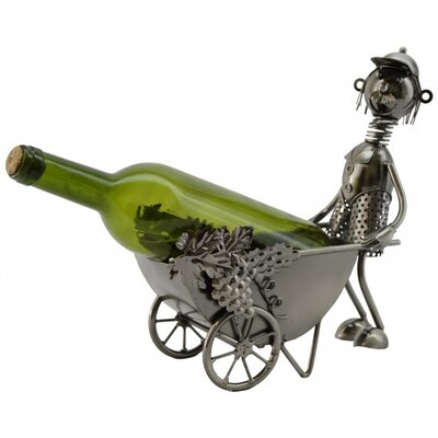 Three Star Im/Ex Inc. Man with Wheel Barrel 1 Bottle Tabletop Wine Rack