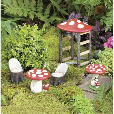 plow hearth miniature fairy garden mushroom furniture statue set reviews wayfair. Black Bedroom Furniture Sets. Home Design Ideas