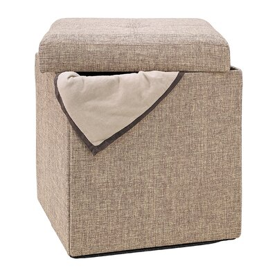 Simplify Natural Single Folding Storage Cube Ottoman
