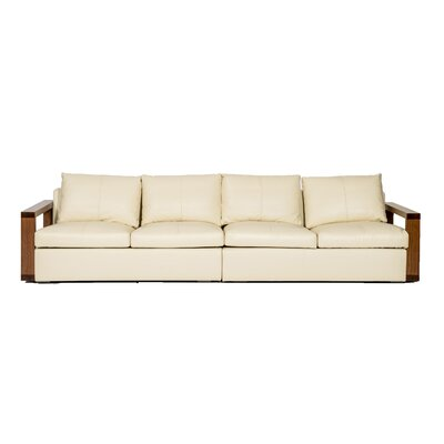 Designer Casa Wood Arm Rest Leather Sofa
