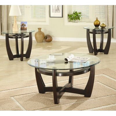 red barrel studio high west 3 piece coffee table with glass top
