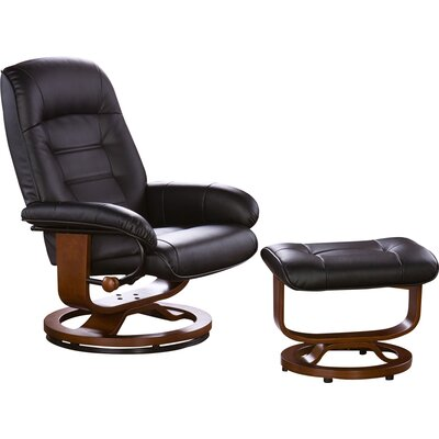 Red Barrel Studio New Republic Leather Ergonomic Recliner and Ottoman
