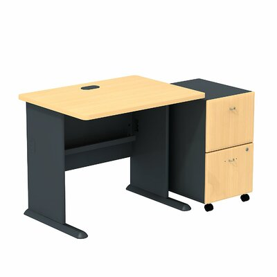 Bush Business Furniture Series A Executive Desk with 2 Drawer Mobile Pedestal
