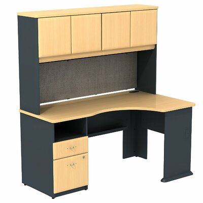 Bush Business Furniture Series A Single Pedestal Corner Desk with Hutch