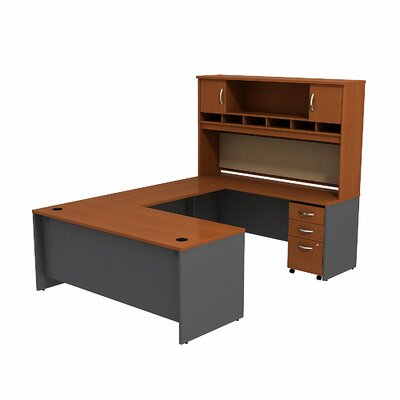 Bush Business Furniture Series C U-Station with 2-Door Hutch and 3-Drawer Mobile Pedestal