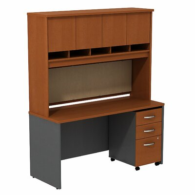 Bush Business Furniture Series C Desk/Credenza Shell with 4 Doors Hutch and 3 Drawers Mobile Pedestal