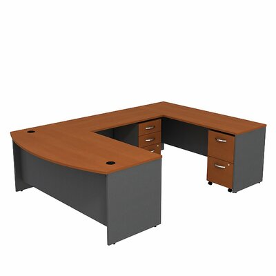 Bush Business Furniture Series C Bow Front U-Station Office Desk with 5 Drawers Mobile Pedestal