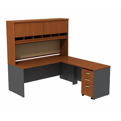 Bush Business Furniture Series C L Shaped Office Desk with 3-Drawer Mobile Pedestal and 4-Door Hutch