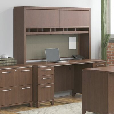 Bush Business Furniture Enterprise Credenza Desk with Double Pedestal
