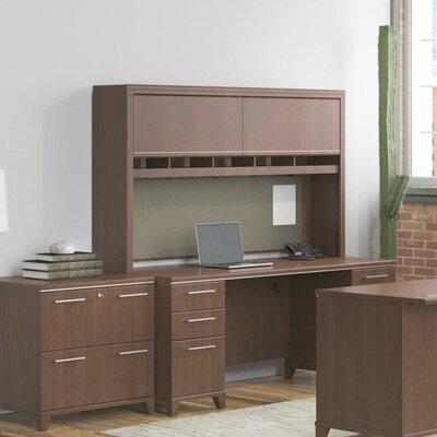 Bush Business Furniture Enterprise Double Pedestal Office Desk with Hutch