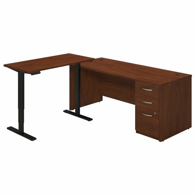 Bush Business Furniture Series C Elite Writing Desk with Height Adjustable Standing Return