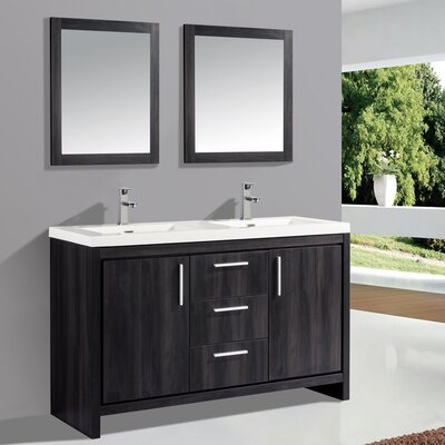 mtdvanities miami 59 double sink modern bathroom vanity set with mirror wayfair. Black Bedroom Furniture Sets. Home Design Ideas