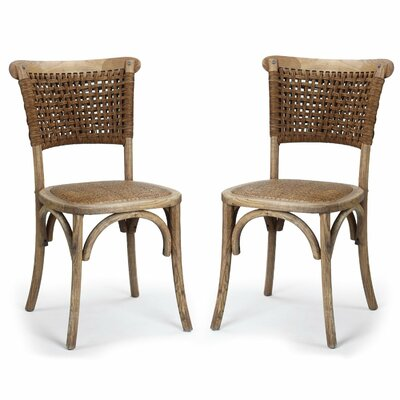 Adeco Trading Dining Cane Side Chair (Set of 2)