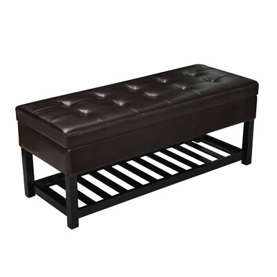 Adeco Trading Rectangular Tufted Storage Ottoman