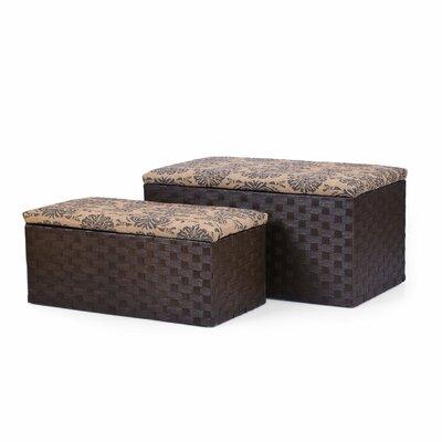 Adeco Trading 2 Piece Printing Lid Storage Ottoman Set