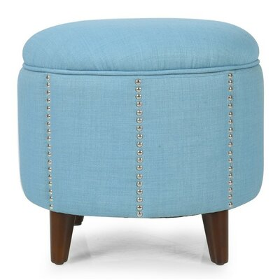 Adeco Trading Button Tufted Lift Round Storage Ottoman