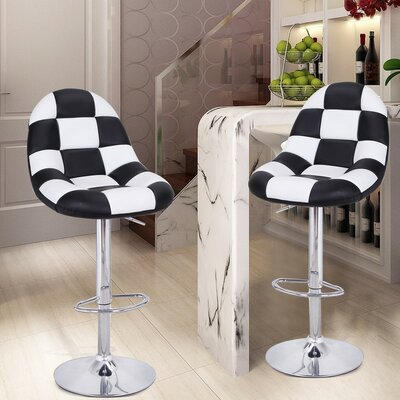 Adeco Trading Adjustable Height Swivel Bar Stool with Cushion (Set of 2)