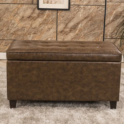 Bellasario Collection Classic Tufted Waxed Texture Storage Ottoman