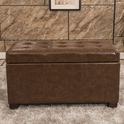 Bellasario Collection Elegant Waxed Texture Tufted Storage Ottoman