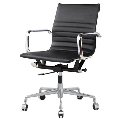 Meelano Vegan Leather Mid-Back Office Chair with Arms