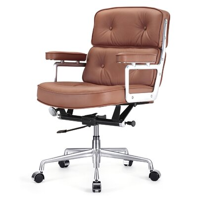 Meelano Mid-Back Leather Office Chair with Arms